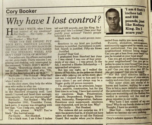 cory booker rodney king article